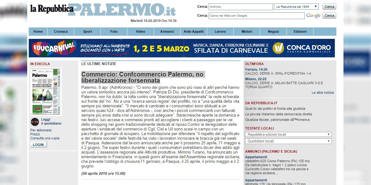 Confcommercio Palermo, no liberalizzazione forsennata