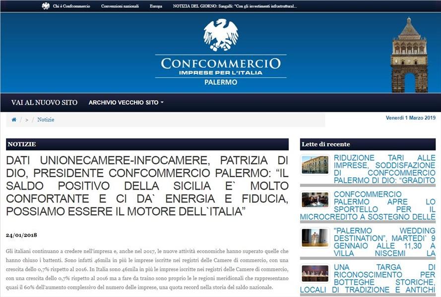 Dati Unionecamere-Infocamere, Patrizia Di Dio, presidente Confcommercio Palermo: il saldo positivo della sicilia e' molto confortante e ci da' energia e fiducia, possiamo essere il motore dell'italia
