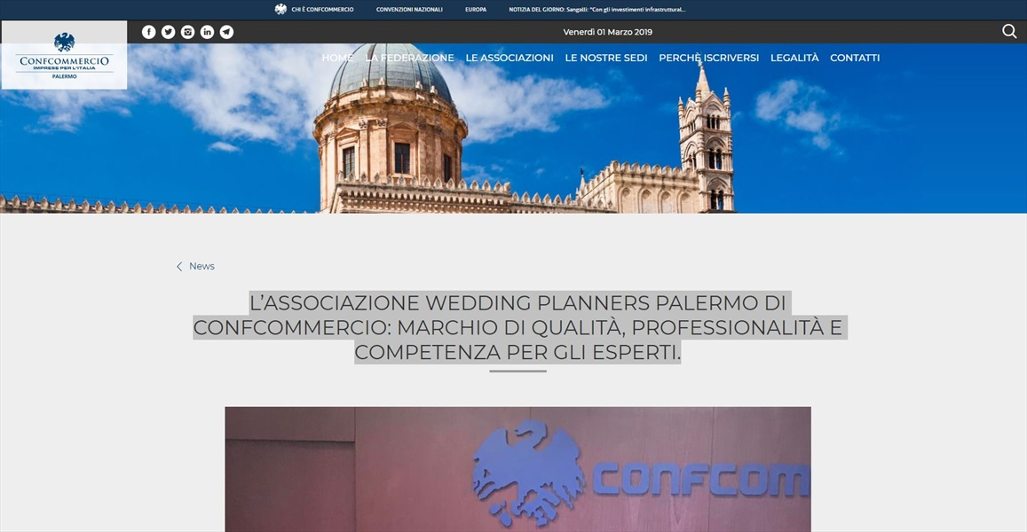 Nasce in Confcommercio l'associazione wedding planner Palermo la presidente Michela Cannatella: regole chiare per chi opera nel settore e garantisce serieta', professionalita' e competenza