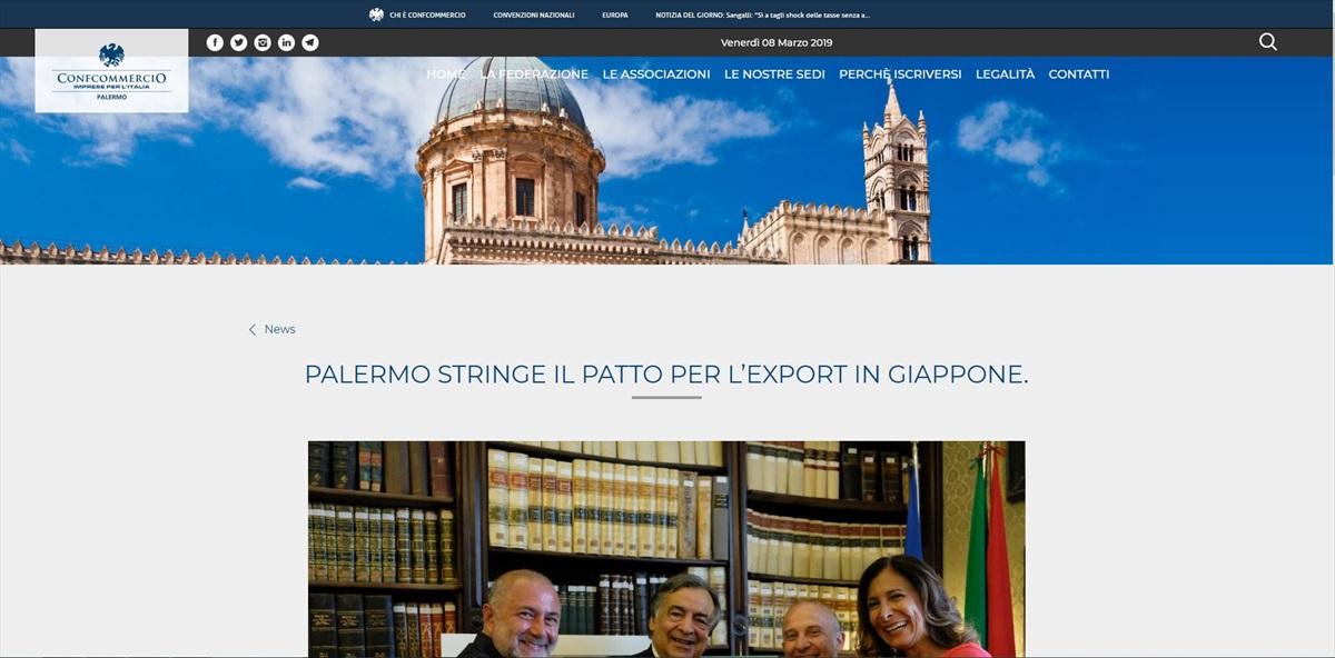 Palermo stringe il Patto per l'Export in Giappone.