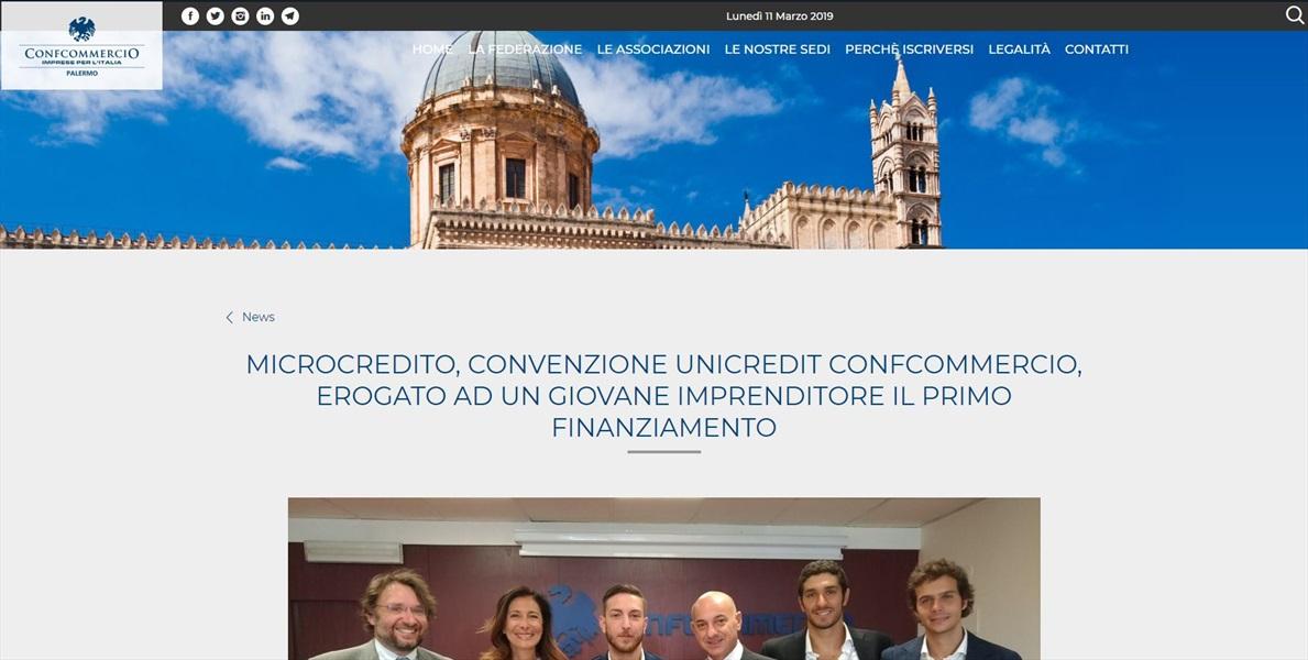 Microcredito, convenzione UniCredit Confcommercio, erogato ad un giovane imprenditore il primo finanziamento