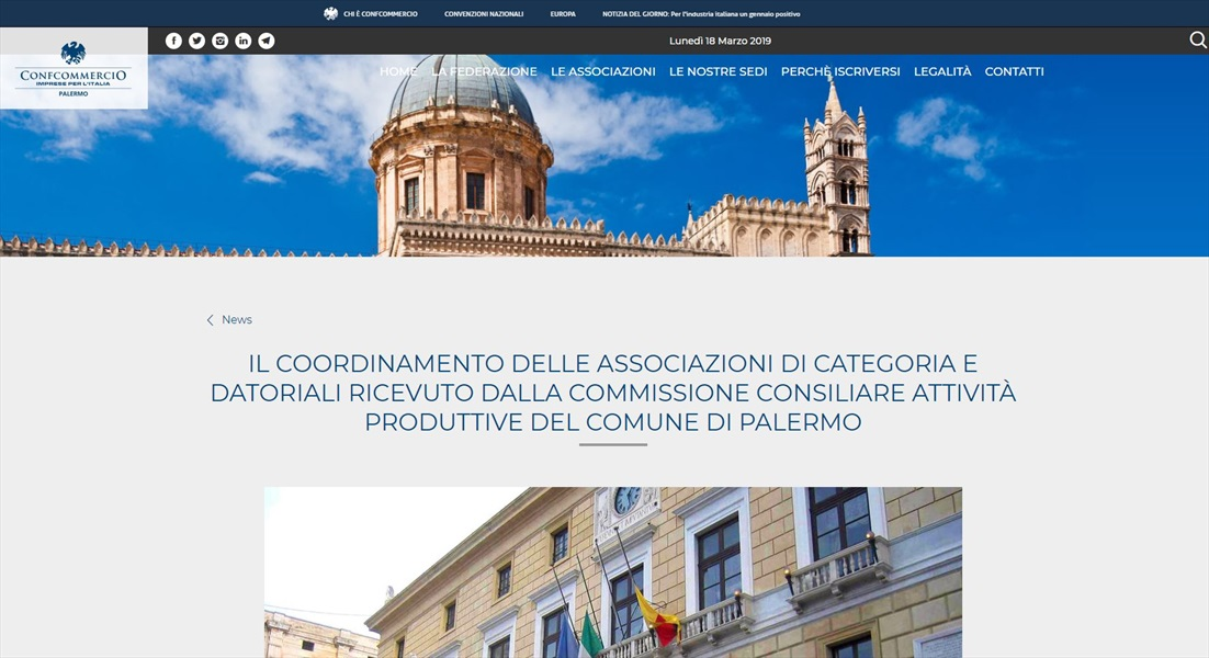 Il coordinamento delle associazioni di categoria e datoriali ricevuto dalla commissione consiliare attività produttive del comune di Palermo